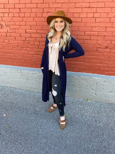 Open Front Navy Cardigan
