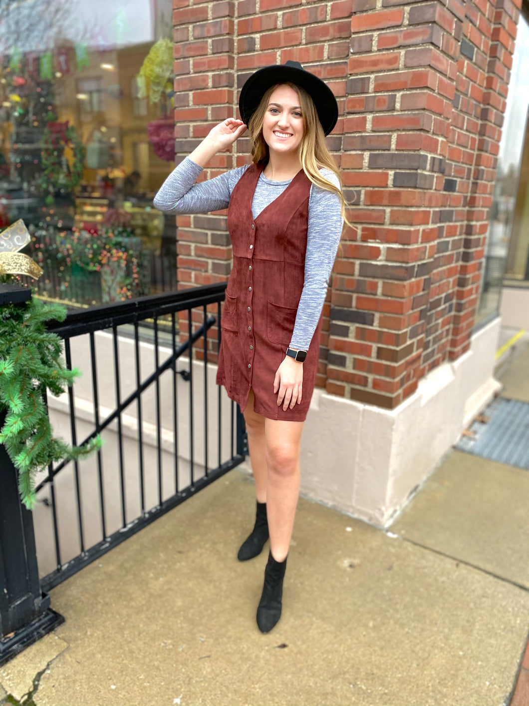 Maroon Suede Jumper Dress