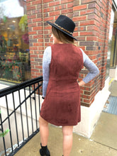 Load image into Gallery viewer, Maroon Suede Jumper Dress