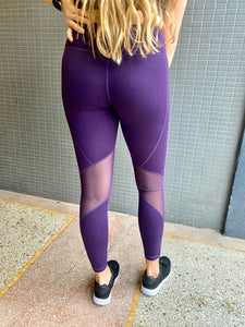 Purple Slanted Mesh Leggings