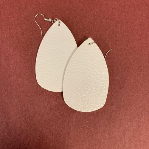White leather earring