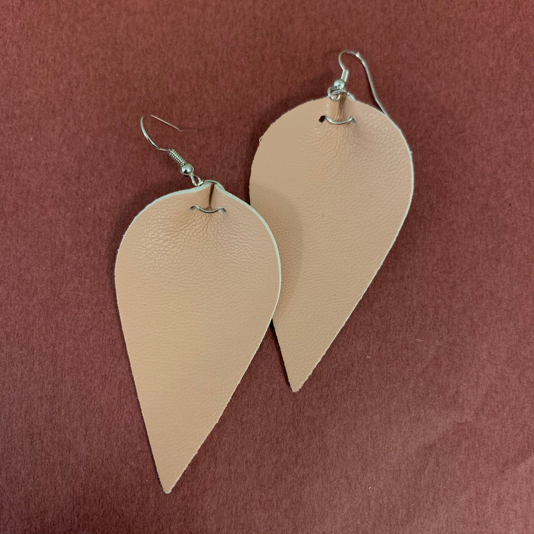 Tan leather earring