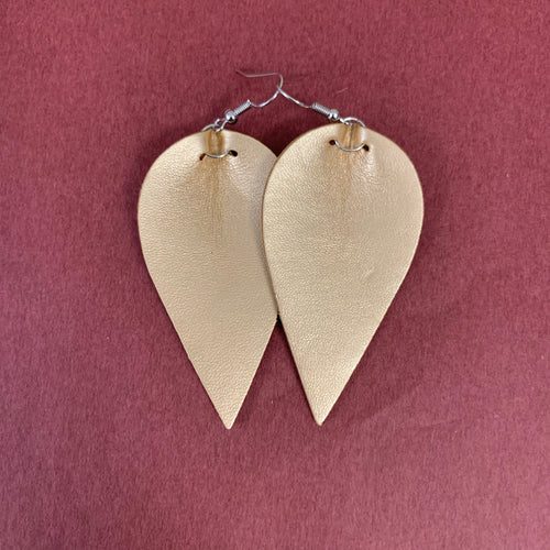 Gold- leather Earring
