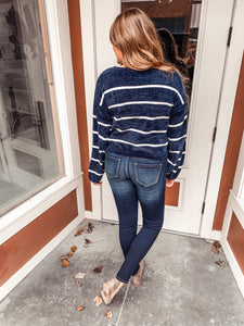 Navy/white stripe chenille sweater