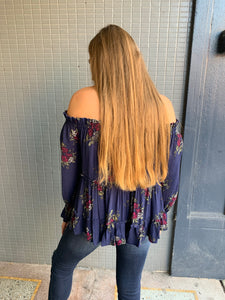 Navy Floral Off the Shoulder