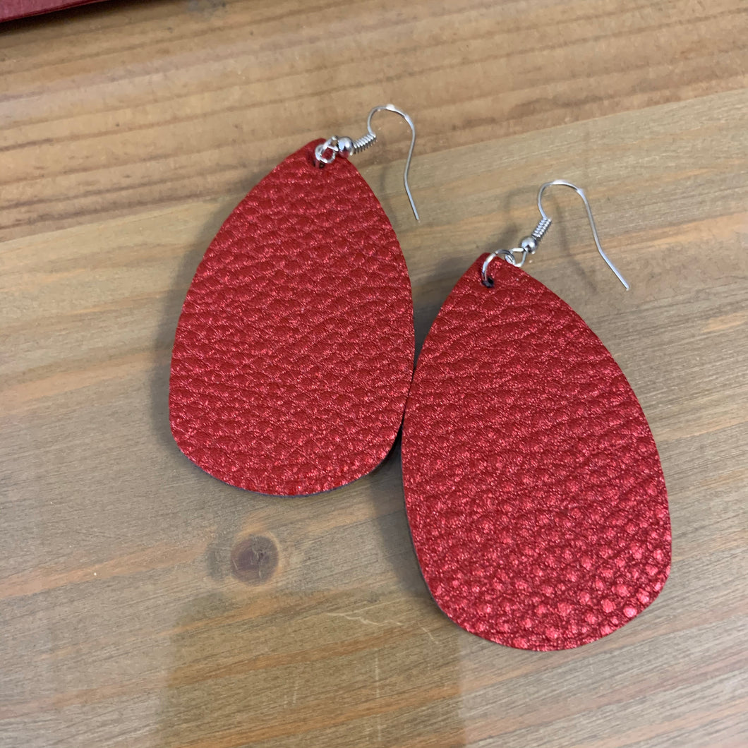Red textured earring