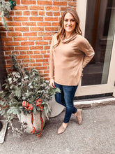 Load image into Gallery viewer, Taupe cowl neck sweater