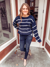 Load image into Gallery viewer, Navy/white stripe chenille sweater