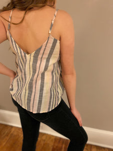Stripe Linen Button Down Tank
