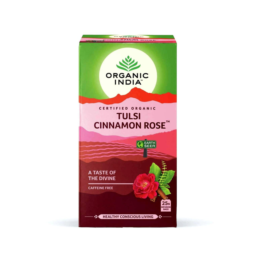 Tulsi Cinnamon Rose New 25 Tea Bags - Organic India