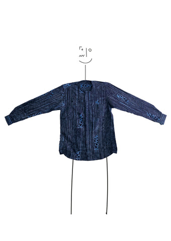 Long sleeve Kowa collar shirt- Indigo and blue kowa lines