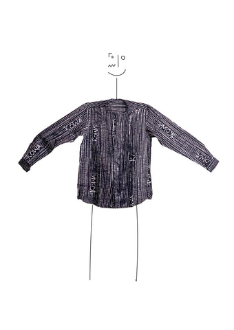 Long sleeve kowa collar shirt- Indigo and white kowa lines