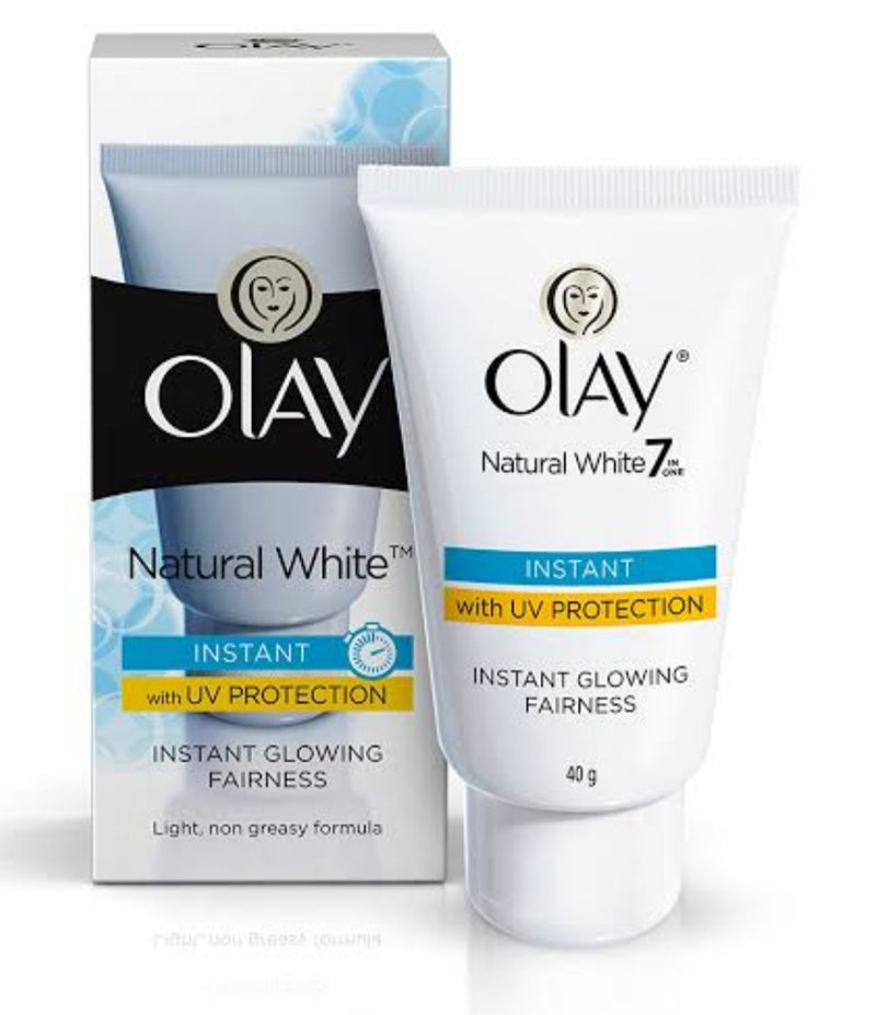 Olay Natural White Instant Glowing Fairness Cream (With UV Protection), 40 g