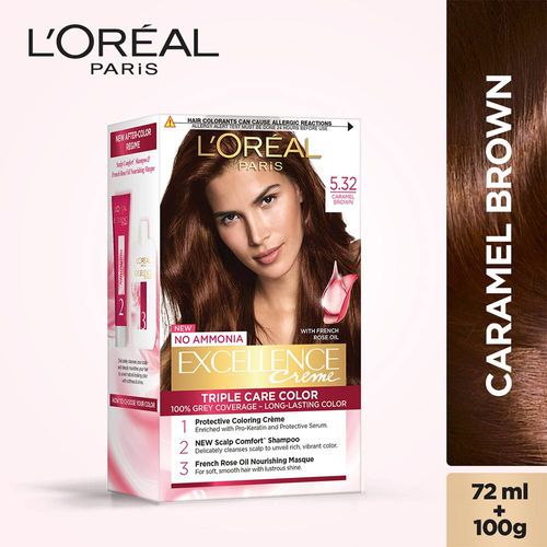 L'Oreal Paris Excellence Creme Hair Color, 5.32 Caramel Brown, 72ml+100g