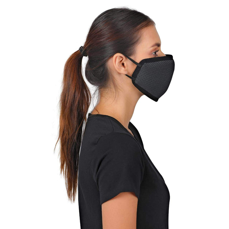 Wildcraft W-95 Mask Black Adults (MEDIUM) HypaShield Reusable 6-Layer Anti-Pollution Outdoor Masks