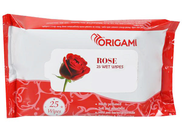Origami Wet Wipes (Rose), Pack Of 25