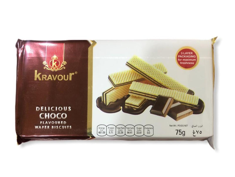 Kravour Choco Flavoured Wafer Biscuits, 75g