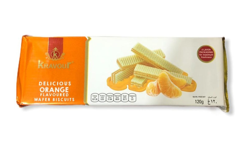 Kravour Orange Flavoured Wafer Biscuits, 120g