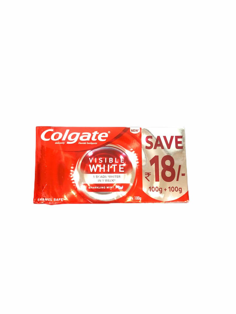 Colgate Visible White, Sparkling Mint, 2 X 100gm