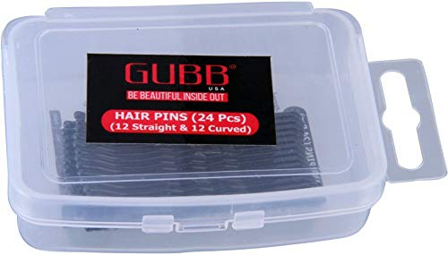 Gubb Hair Pins for Straight Hair (12 straight & 12 curved 24 Nos)