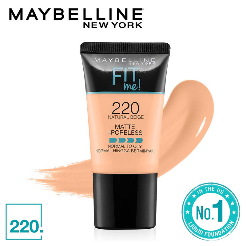 Maybelline New York Fit Me Matte+Poreless Liquid Foundation Tube, 220 Natural Beige, 18ml