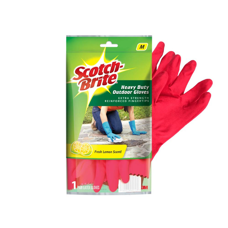 Scotch Brite Outdoor Gloves Fresh Lemon Scent, Medium