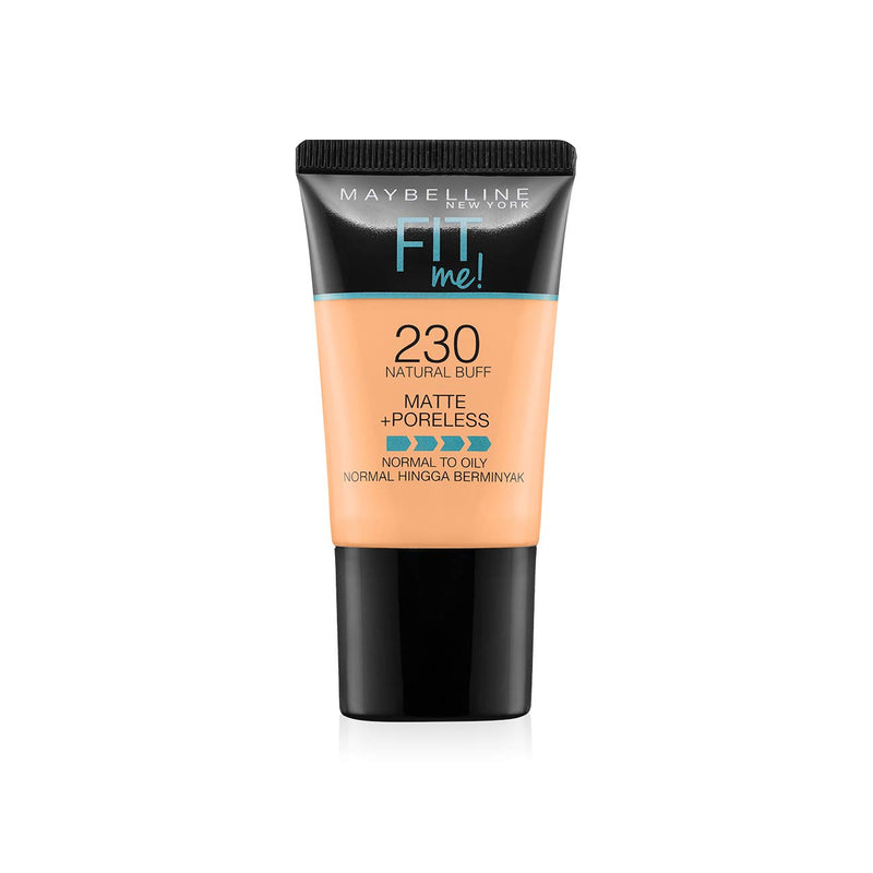 Maybelline New York Fit Me Matte+Poreless Liquid Foundation Tube, 230 Natural Buff, 18ml