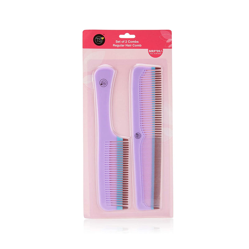 TS Regular Hair Comb (Purple), Pack of 2