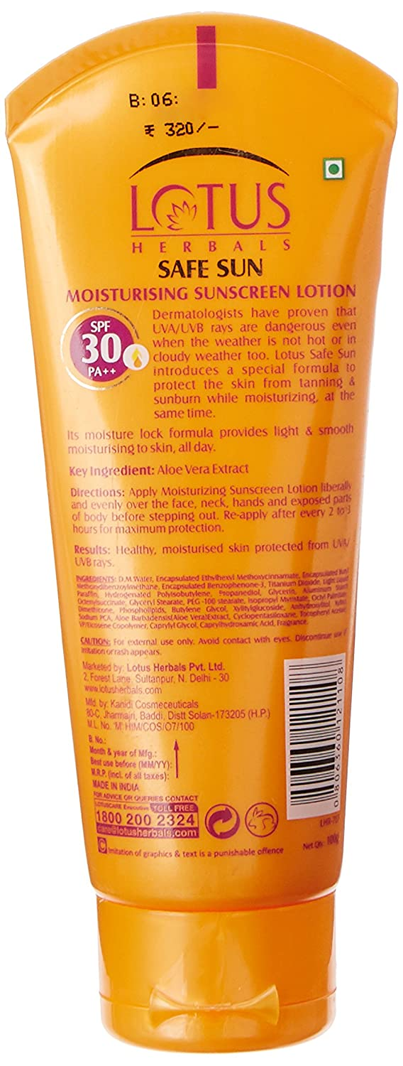 Lotus Herbals Safe Sun Moisturizing Sunscreen Lotion SPF 30, 100g