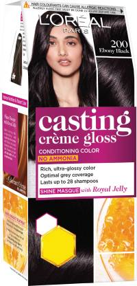 L'Oreal Paris Casting Crème Gloss Small Pack, 200 Ebony Black, 21g+24ml
