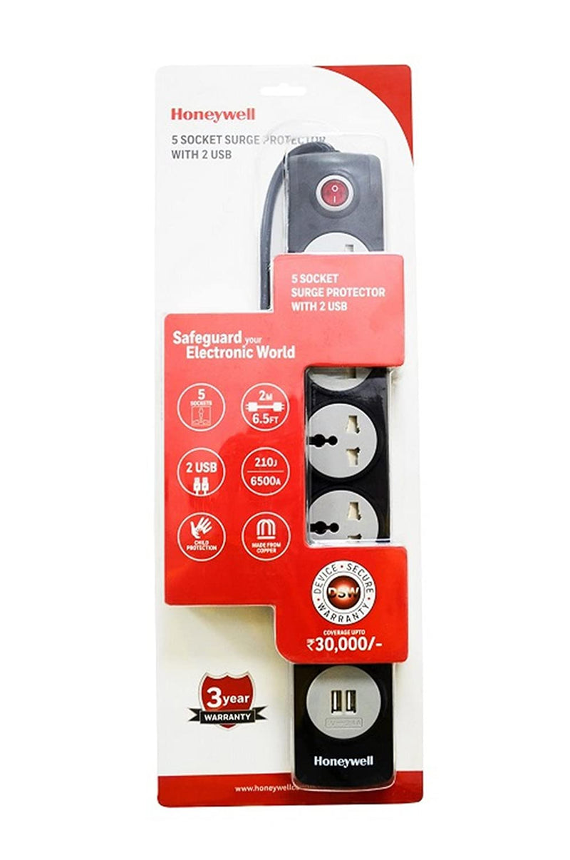Honeywell 5 Out Surge Protector with Master Switch + 2 USB (Black)
