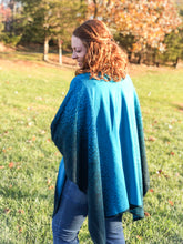 Load image into Gallery viewer, Reversible Shawl (Turquoise/Dark Blue)
