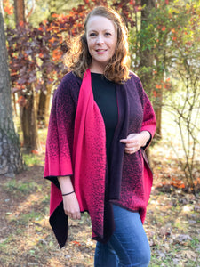 Reversible Shawl (Watermelon Pink/Plum)