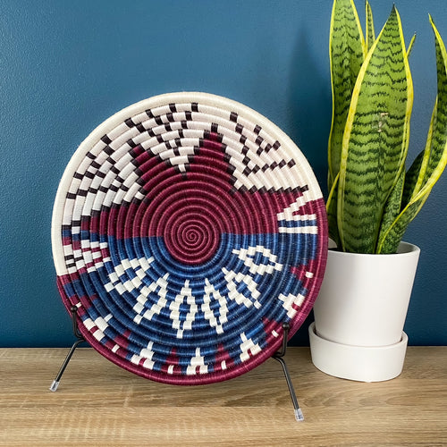 Burgundy/Blue Rwandan Basket