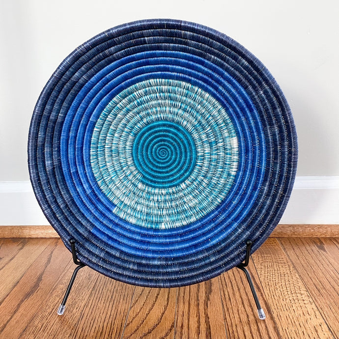 Shades of Blue with Blue Rim Rwandan Basket