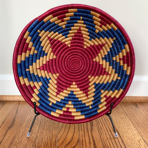 Red and Blue Star Rwandan Basket