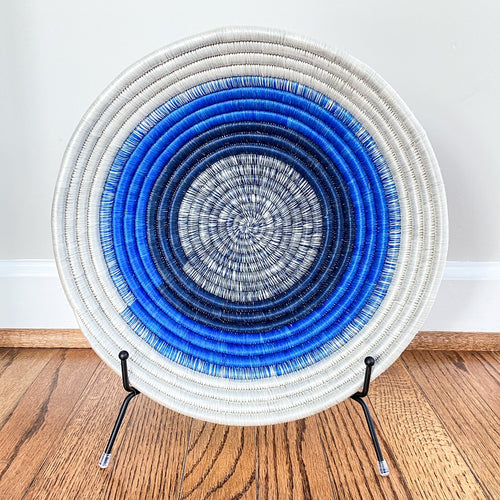 Shades of Blue with White Rim Rwandan Basket