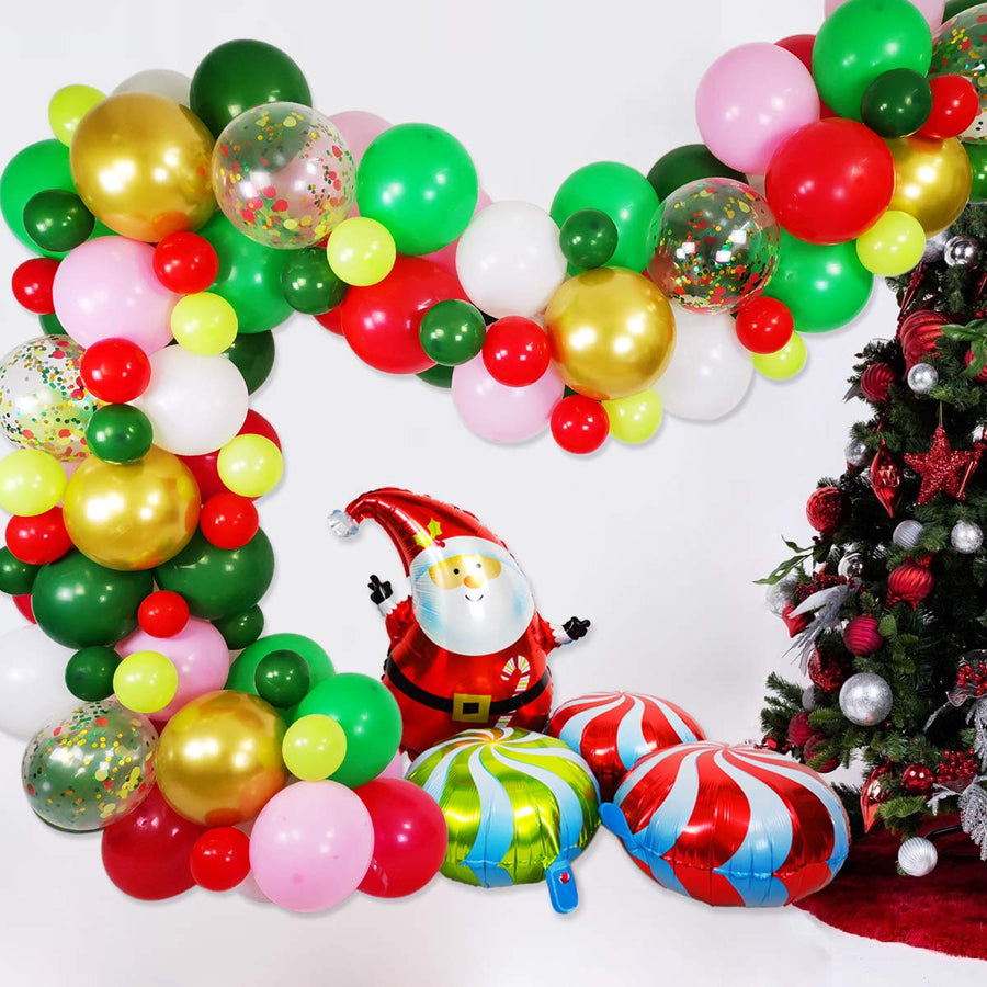 12 inch Red and Green Christmas Balloons