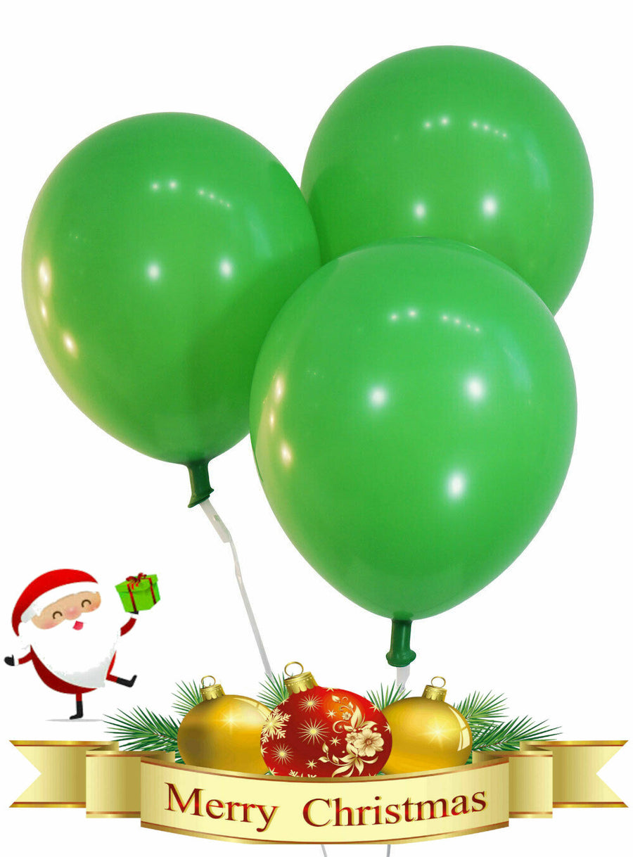 Plain Green Christmas Balloons