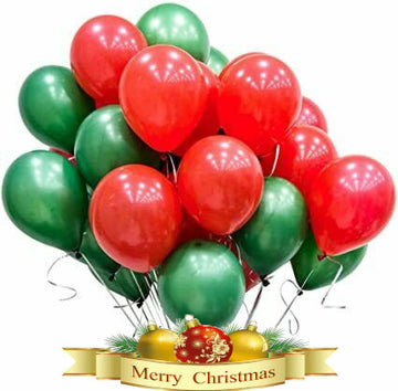 Plain Red and Green Christmas Balloons