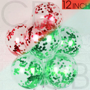 Red & Green Confetti Filled 12