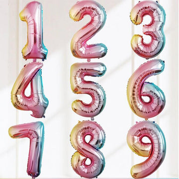 Rainbow/Gradient Colour Foil Numbers 0-9 Age Counting Number Foil Balloons