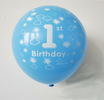 1st Birthday Blue Balloons