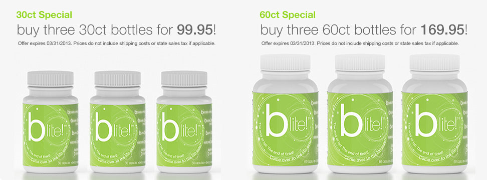 b-lite energy weight loss capsule special, buy 3 bottles of 30ct b-lite for 99.95, buy 3 bottles of 60ct b-lite for 159.95