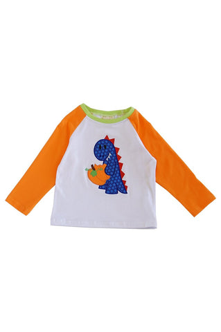 Pumpkin dino applique boy raglan shirt 012237
