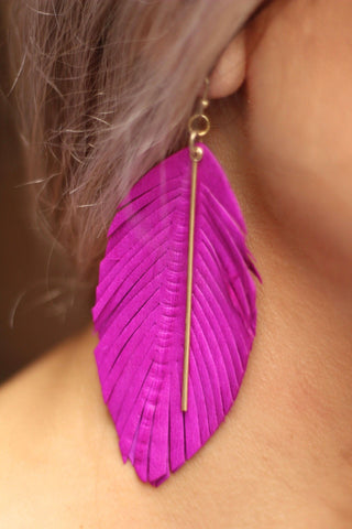 Leather feathered drop earrings in fuschia