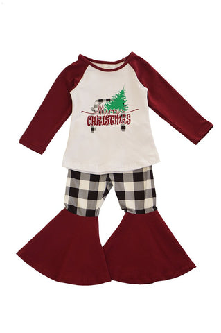 Merry christmas maroon top with bell pants set CKTZ-190053 sale