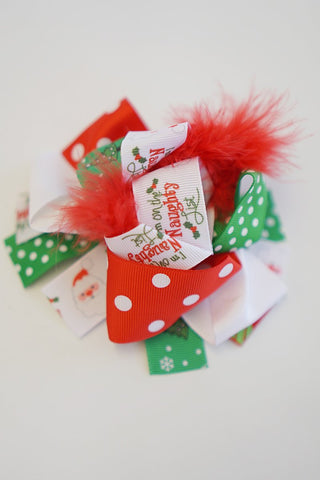 Christmas santa feather green red hair bow 6 inch alligator clip 5 pcs/$9.99 191034