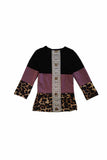Mommy & me purple leopard black top with back lace for girl 1911173