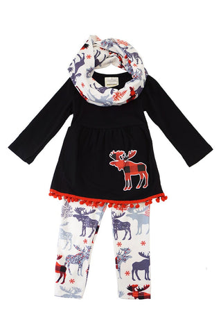 Moose print 3 pcs scarf set SJT-201073